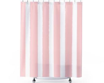 Blush Pink Shower Curtain   Striped Shower Curtain   Modern Shower Curtain    Shower Curtain