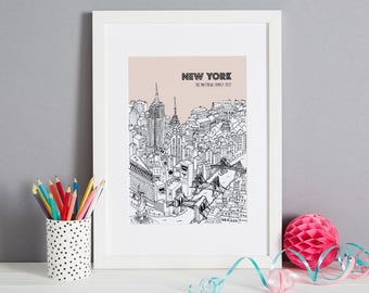Personalised New York Print | First Anniversary Gift | House Warming Gift | Custom Wedding Gift | New York Picture | Travel Related Present