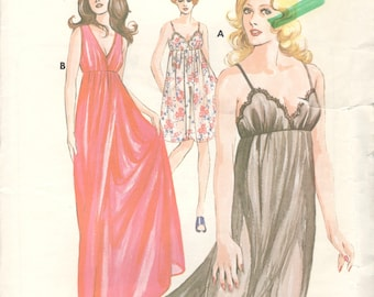 Kwik Sew 527 1970s  Misses Empire Waist Sheer NIGHTGOWN Pattern Womens Vintage Sewing Pattern Size S M L XL  Bust 32 - 45 UNCUT