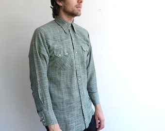 Vintage 80s Dee Cee Plaid Western Shirt/ 1980s Green Blue Pearl Snap Shirt/ Size Medium
