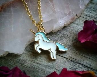 Little blue unicorn necklace