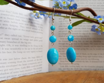 Blue quartzite ovals, coins and rounds cascading shepherds hook earrings