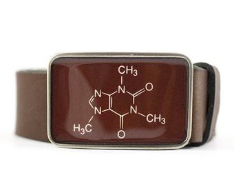 Caffeine Belt Buckle, Molecule Belt Buckle, Science belt buckle, Brown belt buckle