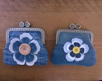 Hand Made blue denim coin purse made with a sew in purse frame - with added lace detail. Upcycled/Recycled Denim.
