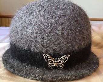 Grey and black 100% wool handmade felted hat with sterling silver and gemstone butterfly