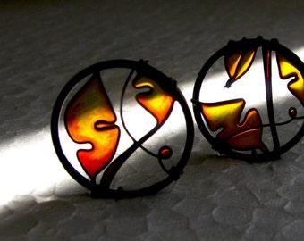 Autumn Earrings. Fall Leaf Earrings. Dark Copper Earrings in Amber Colors. Dangle Earrings. Circle Earrings. Autumn Leaves. Autumn Jewelry.