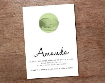 Photo Birth Announcement Printable - Amanda - Round Photo Printable Birth Announcement - DIY Birth Announcement - Birth Announcement PDF