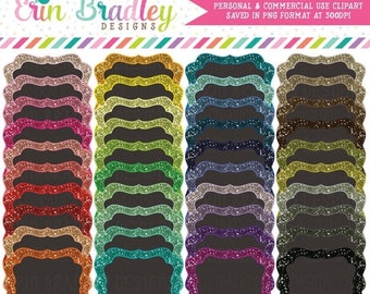 80% OFF SALE Glitter Clipart Frames - 40 Colors - Personal & Commercial Use Clip Art Glitter Label Graphics