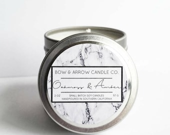 2 oz Natural Soy Candle Oakmoss & Amber Scented | 2 oz Tin Candle | Masculine Candle | Amber Candle | Scented Soy Candle | Gift Idea