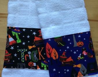 Dachshund Halloween kitchen towels, dog kitchen towels, Halloween towels