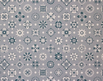 1960s Vintage Wallpaper Blue and White Geometric on Blue by the Yard