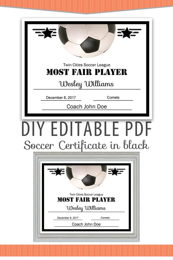 Editable Pdf Sports Team Soccer Certificate Diy Award Template