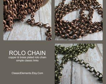 CHOICE of ROLO Chain, Rolo Chain, Chain, Antique Copper Chain, Antique Brass Chain, Chain for Necklace, Bracelet chain
