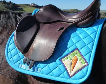 Be Courageous! Aqua Saddle Pad for English Saddles from The 24 Carrot Collection: CA-77