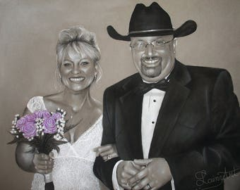 CUSTOM  Wedding Portrait - Couple - Charcoal Drawing  - Realistic hand drawn art - From your Photo - 11x14