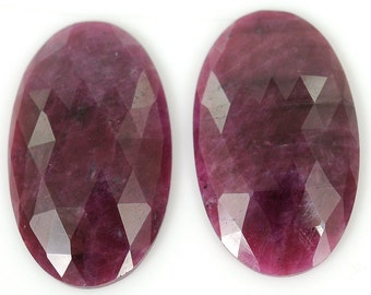 Ruby Rose Cut  49.20cts 100% Natural Ruby Gemstone Oval Rose Cut Slice 30*18*4.5h For Earring