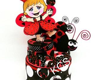Girls ladybug birthday, Ladybug Birthday, Ladybug Cake topper, Ladybug party, ladybug birthday decorations, Custom cake toppers