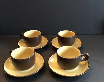 Noritake Folkstone ~ Brown and Yellow ~ Four Cups and Four Saucers ~ Stoneware ~ Japan ~ 1970's ~ Vintage