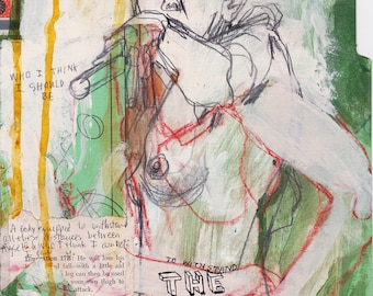 The Beautiful Truth, Mixed media drawing on folder by Juliana Coles