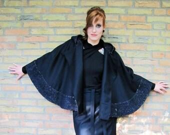 """womens cape """"Schwarzkäppchen"""" black, lining silver, hodded"""