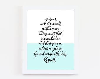Motivational Quotes - Conquer the Day - Inspirational Prints - Typography Print