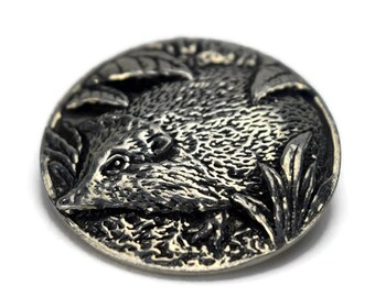 Vintage St Justin Pewter Hedgehog Brooch, Hedgehog Jewelry, Round 3D Relief Animal Pin