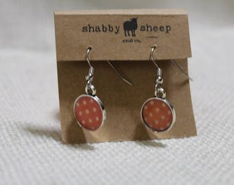Shabby Style dangly earrings- red polka dot