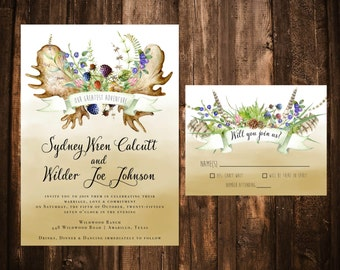 Bohemian Woodland Forest Wedding Invitations; Printable OR set of 25