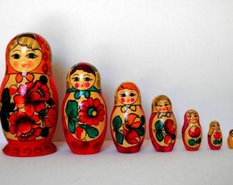 Russian Nesting Dolls, Matryoshka, Nesting Russian Dolls, Set of 7 Nesting Dolls,Babushka Doll