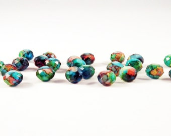 PSM67 - 5 color choices marble Dragon veins faceted Crystal beads / 5 Colours Choice Colorised Marble Veins Crystal Beads