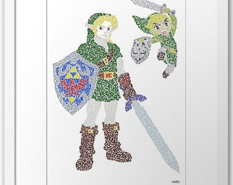 "Instant Download of 3 Digital Files, of my drawing signed  of ""Link"" in video games ""The Legend of Zelda"" (Nintendo)"
