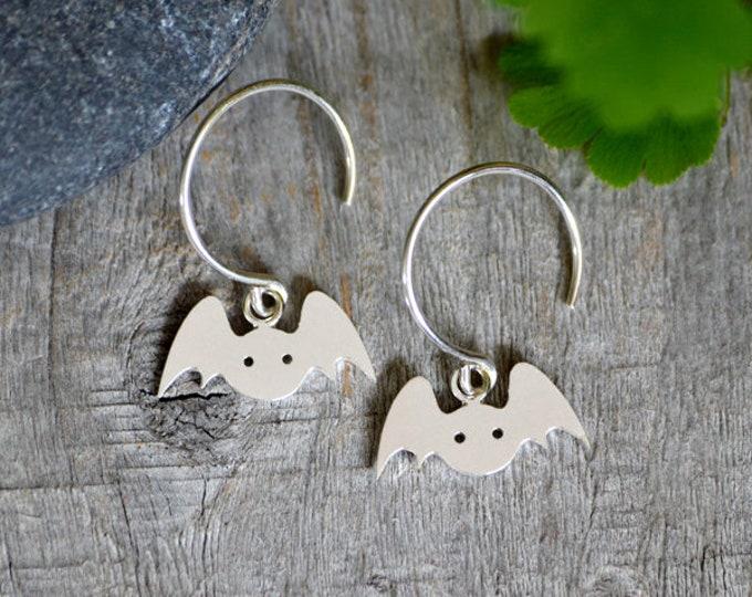 Bat Earrings In Sterling Silver, Animal Earring Studs, Handmade In The UK