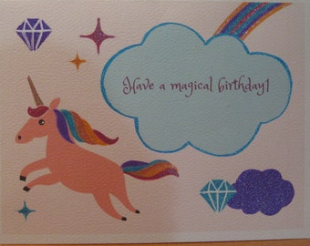 Unicorn birthday card, magical unicorn birthday, girl's unicorn birthday card, unicorn cards