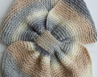 Cream, beige and gray scarf