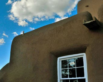 ST. FRANCIS Of ASSISI Church Window Detail And Sky, Located At Rancho de Taos, In Northern New Mexico.