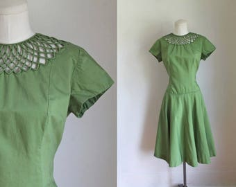 vintage 1950s dress - MOSS green party dress / M