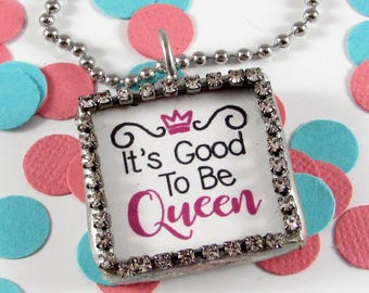 Little Girl Necklace-Queen Necklace-Mom Necklace-Daughter Gift-Mom Gift-Friend Gift-Hot Pink Necklace-Little Girl Jewelry-Mom Jewelry