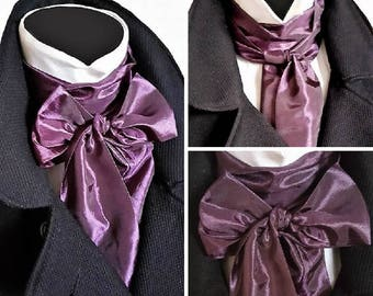 Aubergine Purple Silky Cravat Neck Jabot Victorian Steampunk Theatre Wedding Races Ascot Self Tie Multi Way PK1