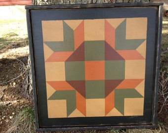 PRiMiTiVe Hand-Painted Barn Quilt - 3' x 3' Goose Tracks Pattern