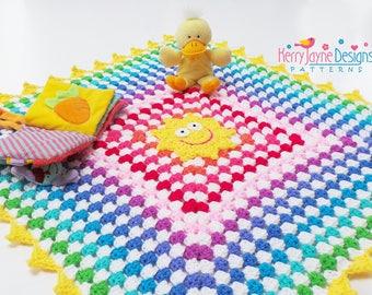 SUNNY RAINBOW Crochet Blanket Pattern Granny Square Blanket Pattern Crochet Baby blanket pattern With Crochet Tutorial pattern  Baby crochet