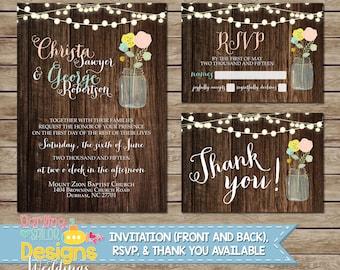 Rustic Mason Jar Wedding Invitation, RSVP, Thank You Card, Wood, Mason Jar, String Lights, Shabby, Wedding Invitation Suite, Digital & Print