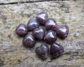 Purple and White Tiny Hearts Loose Glass Beads x 10 (Destash)