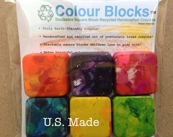 6 Block Crayons, 1 pack - Stackable Square Block Crayons Recycled Handcrafted For KIds