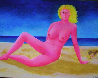Painting on canvas, queen of coins, acrylic on canvas, queen of money, nude painting, nude painting