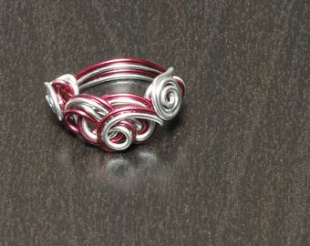 Burgundy and silver ring