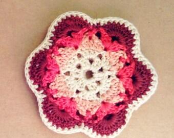 Coin Purse ~ Ear bud pouch ~ Wallet ~ Change Purse Cute Bohemian ~ Pink Crochet Flower