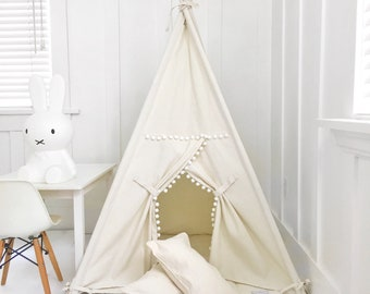Small Size Children's Play Tent Teepee Handmade for Kids in Natural Canvas with Pom Pom Trim. Each Comes with Padded Mat Base and Two Pillow