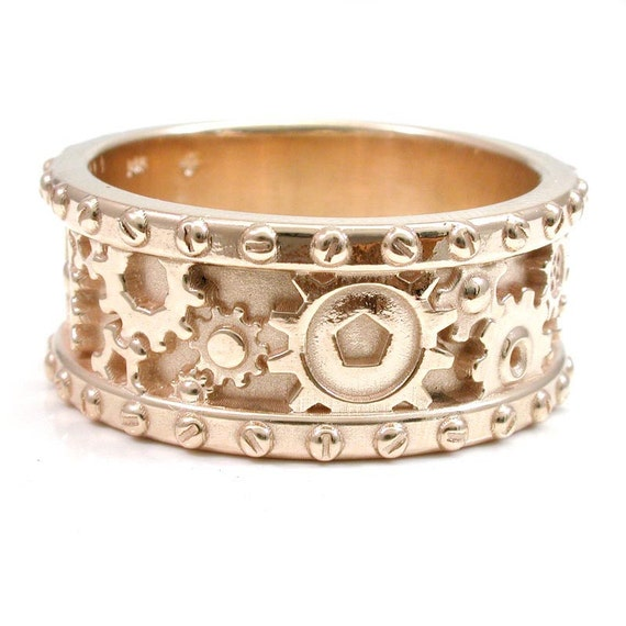 14k Yellow Gold Gear Ring - Steampunk Mens Rivet Ring