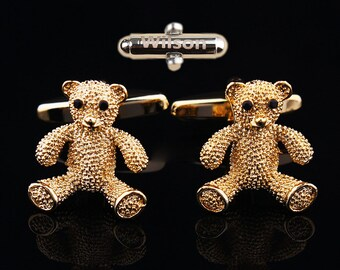 The lettering bear Cufflinks Cuff nails bear bear other Cufflinks personalized teddy bear Cufflinks nail Monogrammed gifts