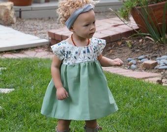 girls dresses, baby dress, dresses, toddler dress,spring dress,family picture, Easter dress, Sage green dress, bunny, Sage,
